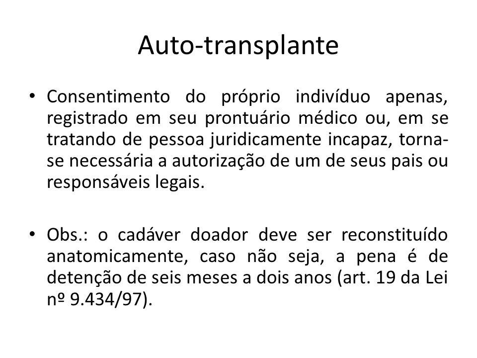 Auto-transplante Consentimento do próprio indivíduo apenas, registrado em seu prontuário médico ou, em se tratando de pessoa juridicamente incapaz, torna- se necessária a autorização de um de seus pais ou responsáveis legais.
