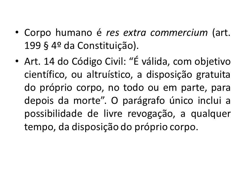 Corpo humano é res extra commercium (art.199 § 4º da Constituição).