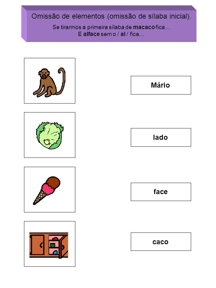 Omissão de elementos (omissão de sílaba inicial). Se tirarmos a primeira sílaba de macaco fica… E alface sem o / al / fica… Mário lado face caco