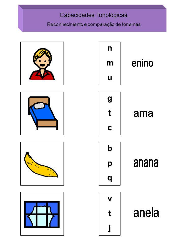 Capacidades fonológicas. Reconhecimento e comparação de fonemas. nmu gtc bpq vtj