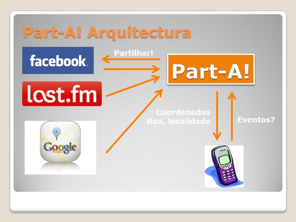 Part-A!Part-A! Part-A! Arquitectura Eventos? Coordenadas Rua, localidade Partilhar!