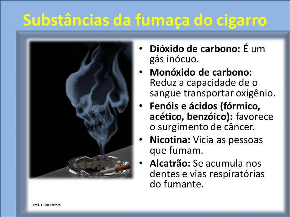 Substâncias da fumaça do cigarro Dióxido de carbono: É um gás inócuo. Monóxido de carbono: Reduz a capacidade de o sangue transportar oxigênio. Fenóis