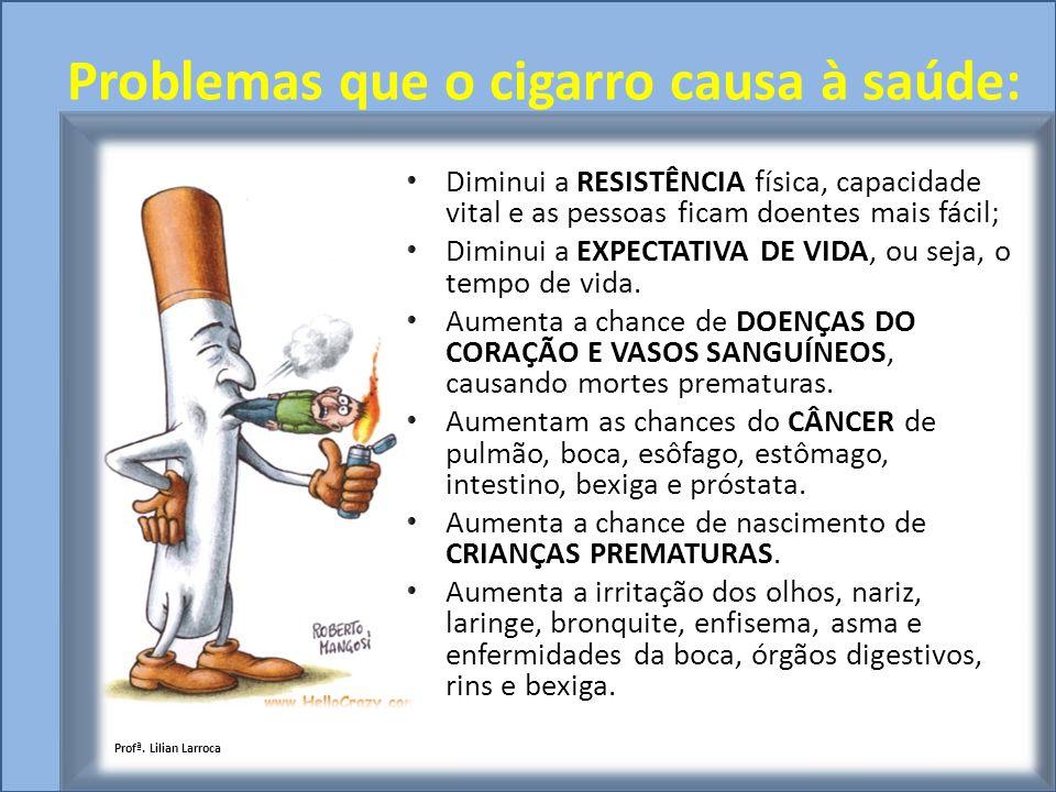 Problemas que o cigarro causa à saúde: Diminui a RESISTÊNCIA física, capacidade vital e as pessoas ficam doentes mais fácil; Diminui a EXPECTATIVA DE