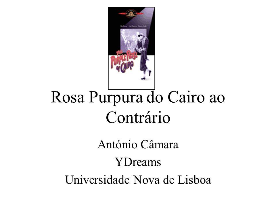 Rosa Purpura do Cairo ao Contrário Vantagens –Realismo –Actores reais não são afectados por actores virtuais Desvantagens –Actores reais não são afectados por actores virtuais –Cinema interactivo (ainda) mudo