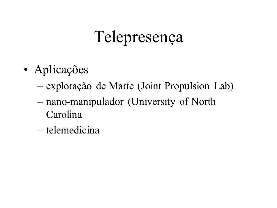 Telepresença Aplicações –exploração de Marte (Joint Propulsion Lab) –nano-manipulador (University of North Carolina –telemedicina