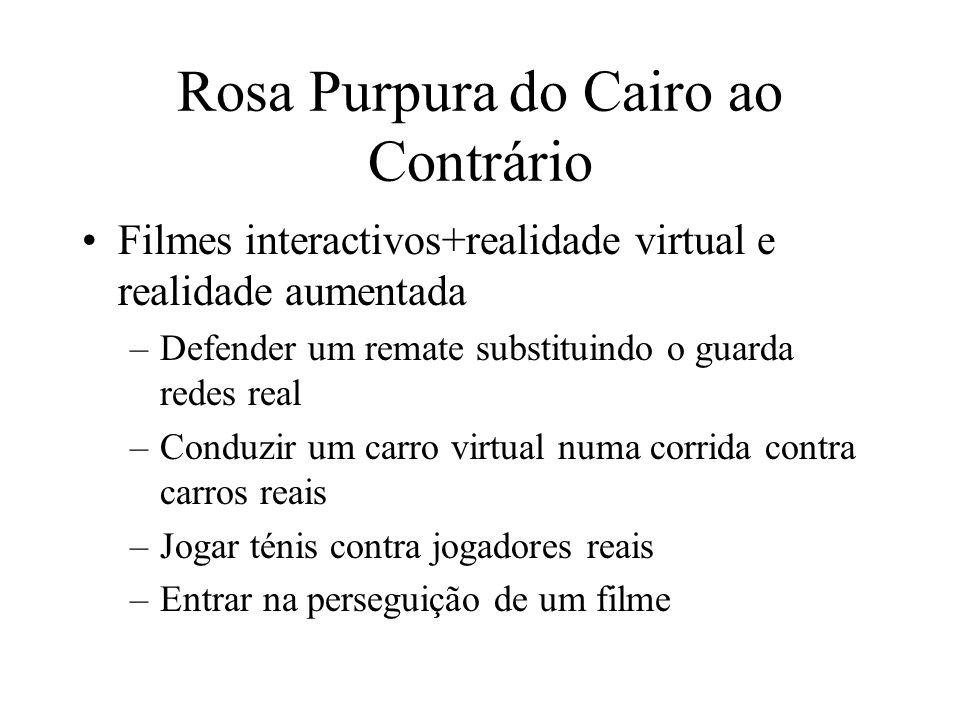 Rosa Purpura do Cairo ao Contrário Filmes interactivos+realidade virtual e realidade aumentada –Defender um remate substituindo o guarda redes real –C