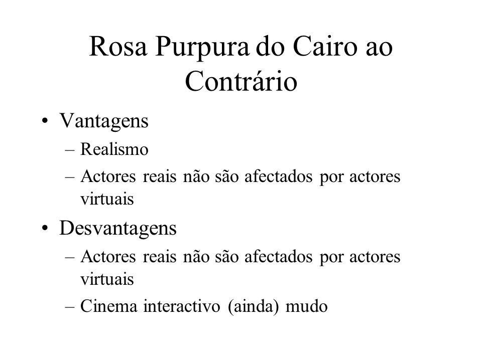 Rosa Purpura do Cairo ao Contrário Vantagens –Realismo –Actores reais não são afectados por actores virtuais Desvantagens –Actores reais não são afect