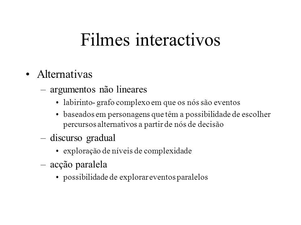 Filmes interactivos Alternativas (cont.) –movimento da câmara selecção do ponto de vista focagem nível de detalhe http://www.mic.atr.co.jp/events/siggraph97/course1 6/imovie/imovie.html http://www.mic.atr.co.jp/events/siggraph97/course1 6/imovie/imovie.html