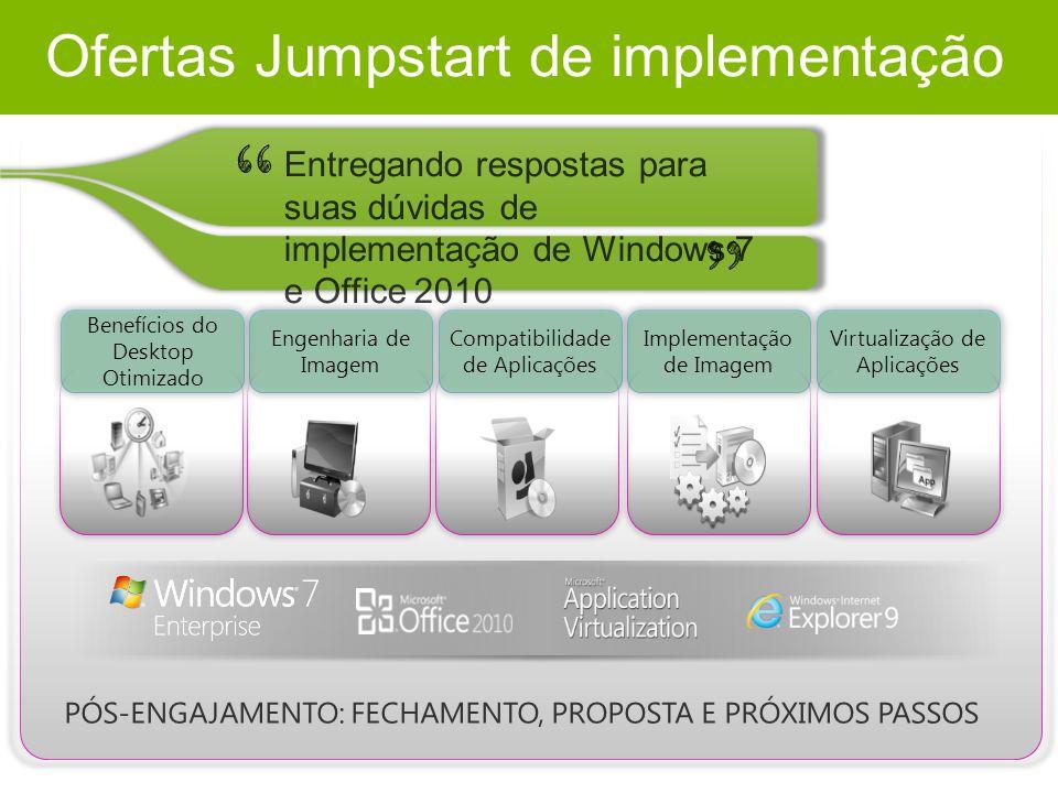 Ofertas Jumpstart de implementação Benefícios do Desktop Otimizado Engenharia de Imagem Compatibilidade de Aplicações Implementação de Imagem Virtualização de Aplicações PÓS-ENGAJAMENTO: FECHAMENTO, PROPOSTA E PRÓXIMOS PASSOS Entregando respostas para suas dúvidas de implementação de Windows 7 e Office 2010
