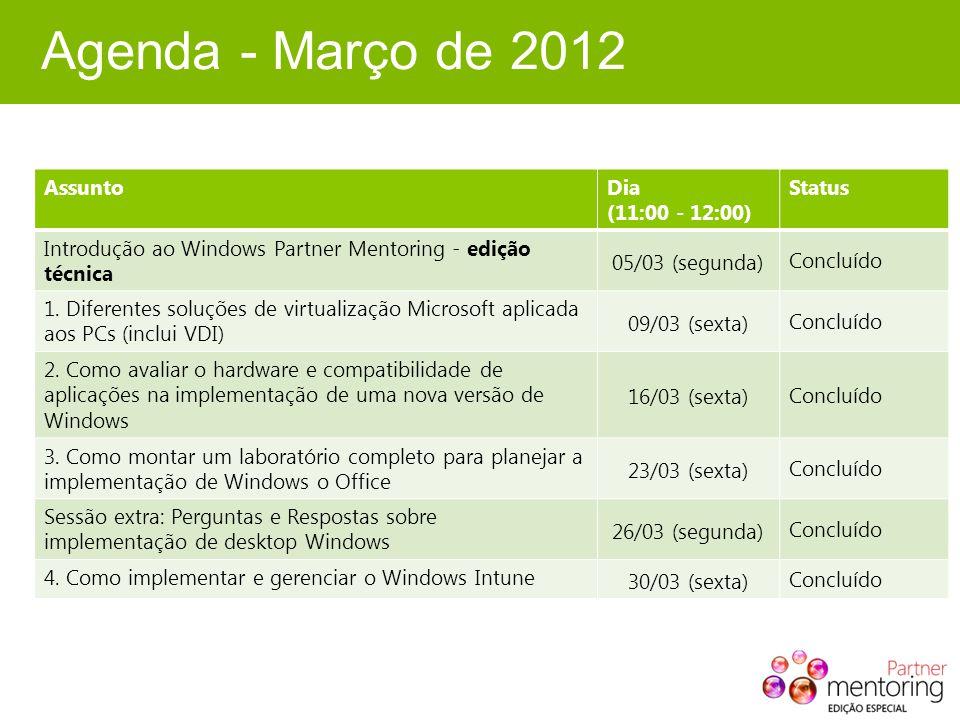 Agenda - Março de 2012 AssuntoDia (11:00 - 12:00) Status Introdução ao Windows Partner Mentoring - edição técnica 05/03 (segunda) Concluído 1.