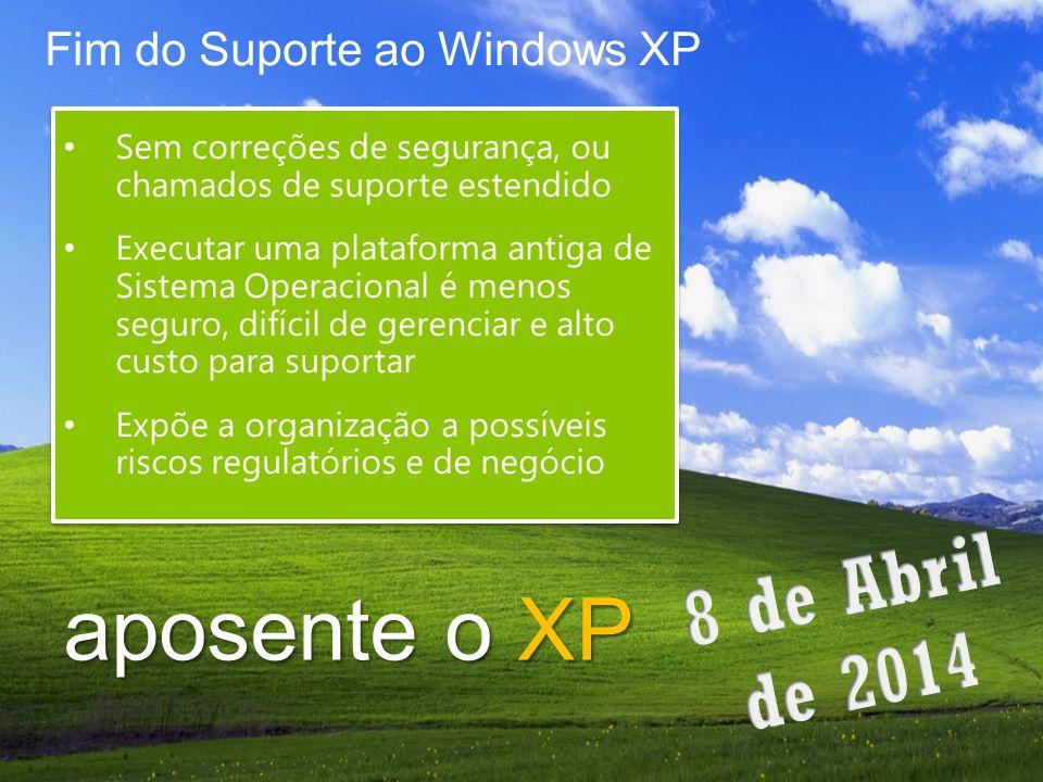 aposente o XP Fim do Suporte ao Windows XP Sem correções de segurança, ou chamados de suporte estendido Executar uma plataforma antiga de Sistema Oper