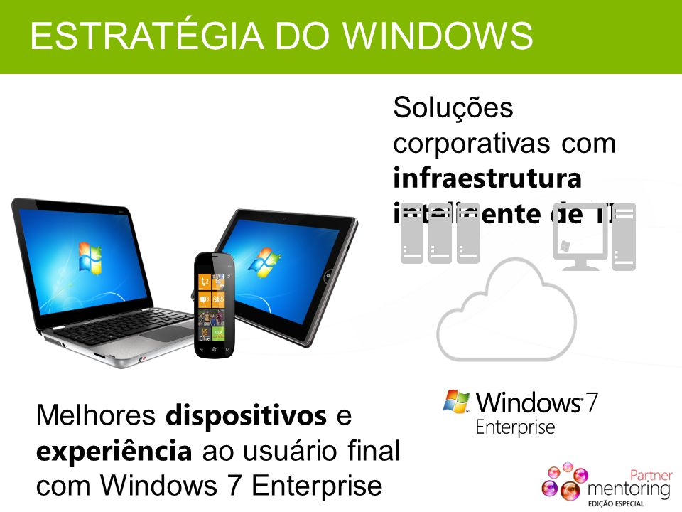 Melhores dispositivos e experiência ao usuário final com Windows 7 Enterprise Soluções corporativas com infraestrutura inteligente de TI ESTRATÉGIA DO WINDOWS