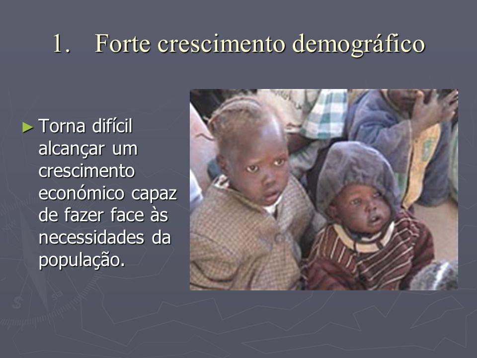 1.F orte crescimento demográfico ►T►T►T►Torna difícil alcançar um crescimento económico capaz de fazer face às necessidades da população.