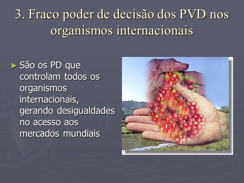 3. Fraco poder de decisão dos PVD nos organismos internacionais ►S►S►S►São os PD que controlam todos os organismos internacionais, gerando desigualdad