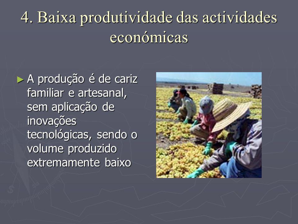 4. Baixa produtividade das actividades económicas ►A►A►A►A produção é de cariz familiar e artesanal, sem aplicação de inovações tecnológicas, sendo o