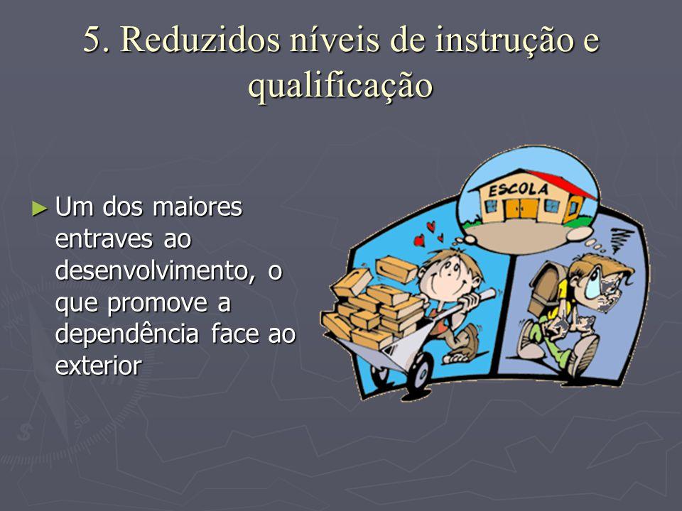 5. Reduzidos níveis de instrução e qualificação ►U►U►U►Um dos maiores entraves ao desenvolvimento, o que promove a dependência face ao exterior