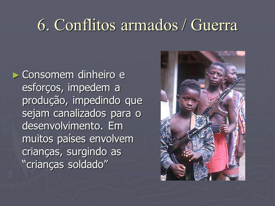 6. Conflitos armados / Guerra ► Consomem dinheiro e esforços, impedem a produção, impedindo que sejam canalizados para o desenvolvimento. Em muitos pa