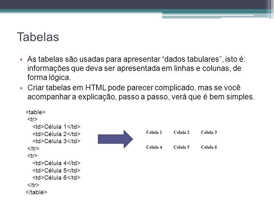 Tabelas As tabelas são usadas para apresentar dados tabulares , isto é: informações que deva ser apresentada em linhas e colunas, de forma lógica.