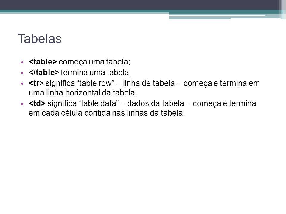 """Tabelas começa uma tabela; termina uma tabela; significa """"table row"""" – linha de tabela – começa e termina em uma linha horizontal da tabela. significa"""