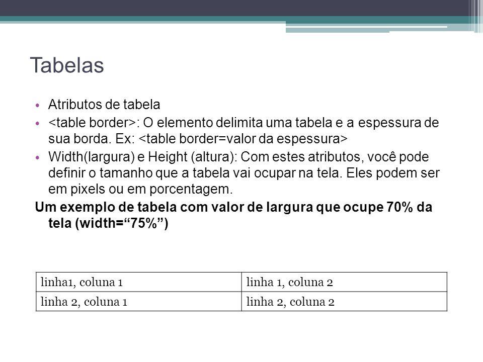 Tabelas Atributos de tabela : O elemento delimita uma tabela e a espessura de sua borda.