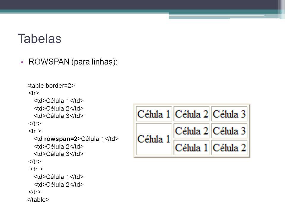 Tabelas ROWSPAN (para linhas): Célula 1 Célula 2 Célula 3 Célula 1 Célula 2 Célula 3 Célula 1 Célula 2