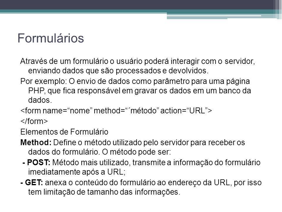 Formulários Através de um formulário o usuário poderá interagir com o servidor, enviando dados que são processados e devolvidos. Por exemplo: O envio