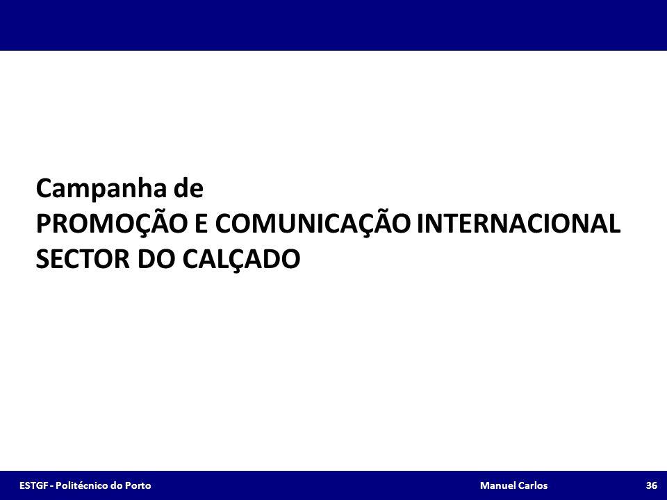 Campanha de PROMOÇÃO E COMUNICAÇÃO INTERNACIONAL SECTOR DO CALÇADO 36ESTGF - Politécnico do Porto Manuel Carlos