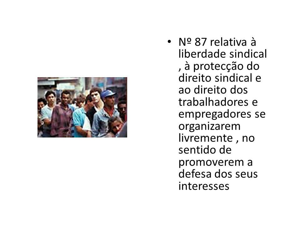 Nº 87 relativa à liberdade sindical, à protecção do direito sindical e ao direito dos trabalhadores e empregadores se organizarem livremente, no sentido de promoverem a defesa dos seus interesses