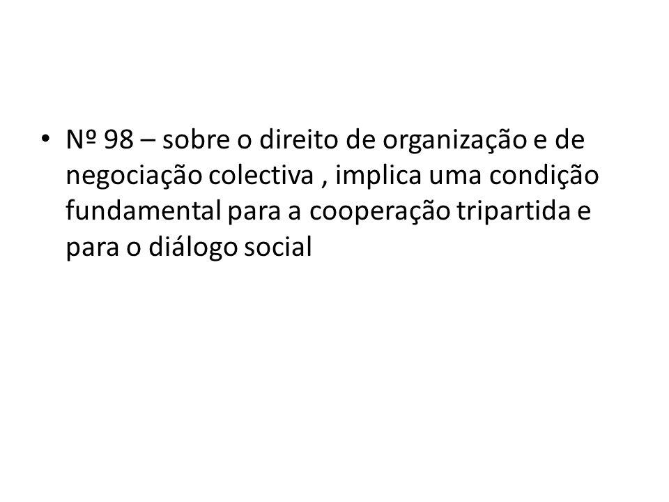 Nº 98 – sobre o direito de organização e de negociação colectiva, implica uma condição fundamental para a cooperação tripartida e para o diálogo social