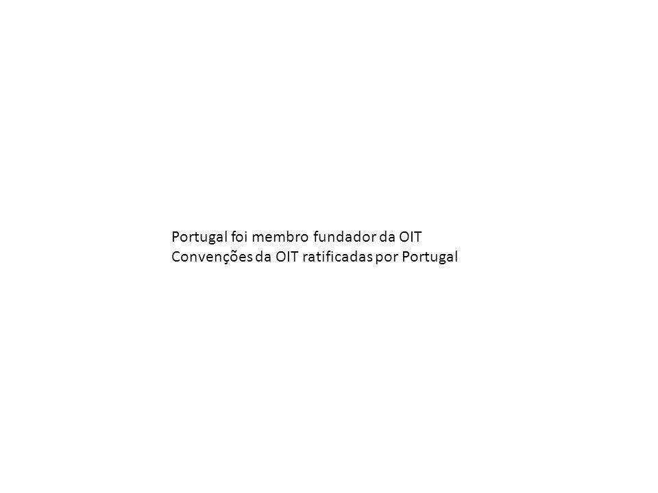 Portugal foi membro fundador da OIT Convenções da OIT ratificadas por Portugal