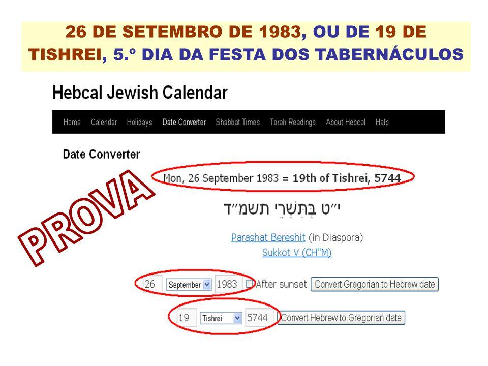26 DE SETEMBRO DE 1983, OU DE 19 DE TISHREI, 5.º DIA DA FESTA DOS TABERNÁCULOS