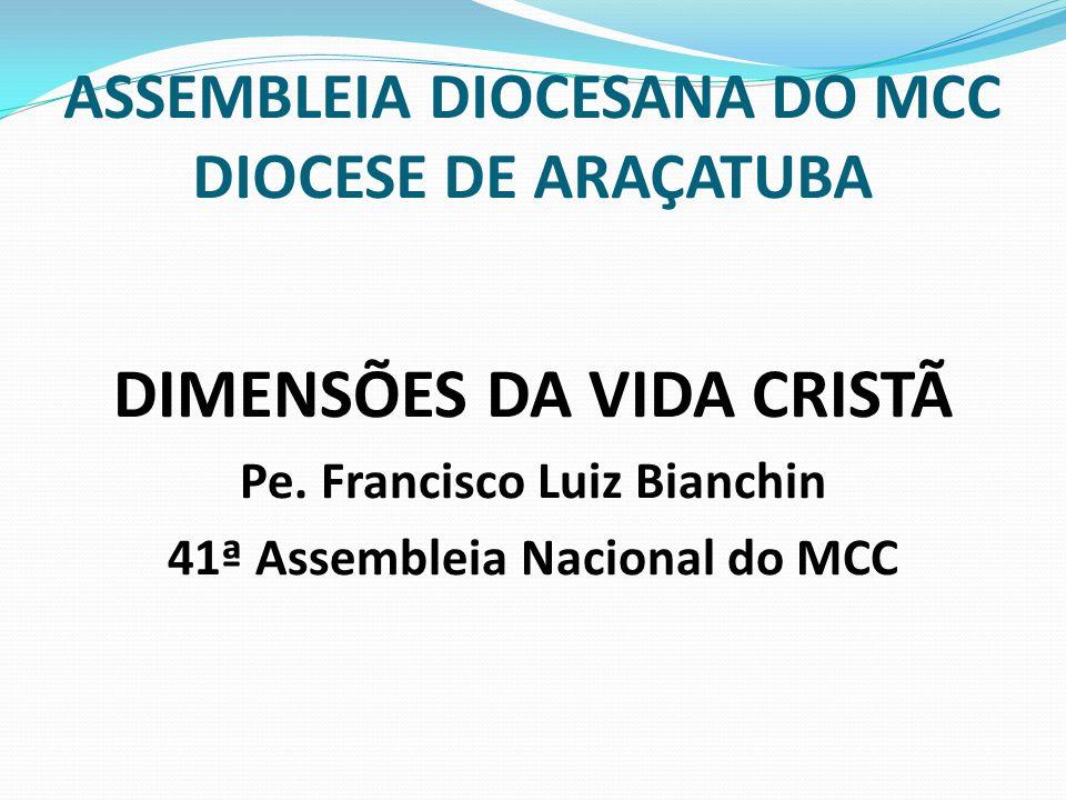 ASSEMBLEIA DIOCESANA DO MCC DIOCESE DE ARAÇATUBA DIMENSÕES DA VIDA CRISTÃ Pe. Francisco Luiz Bianchin 41ª Assembleia Nacional do MCC