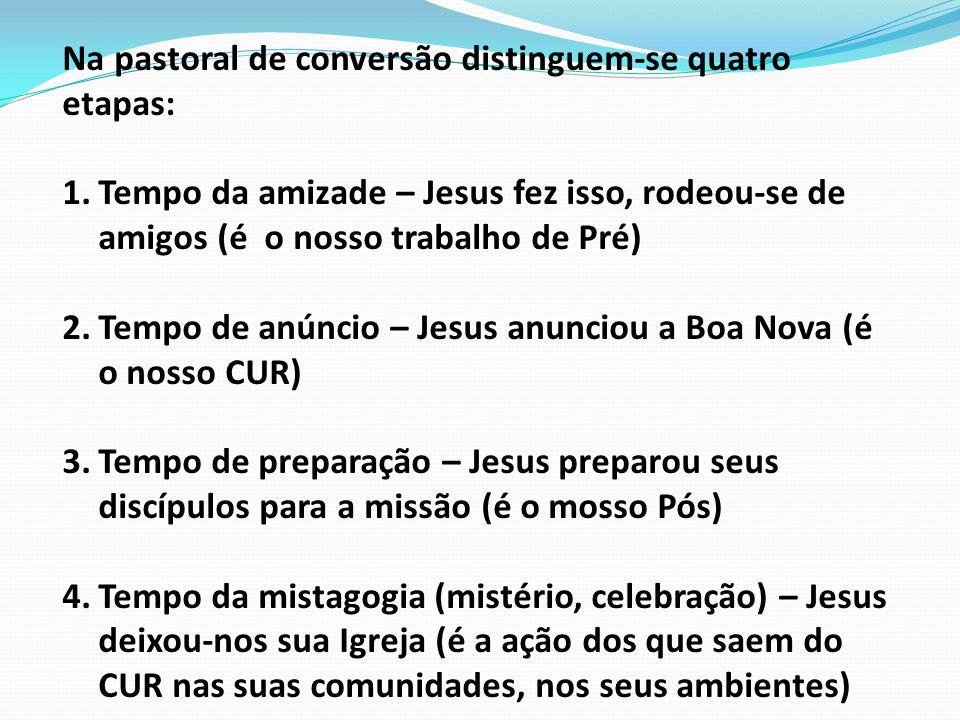 Na pastoral de conversão distinguem-se quatro etapas: 1.Tempo da amizade – Jesus fez isso, rodeou-se de amigos (é o nosso trabalho de Pré) 2.Tempo de