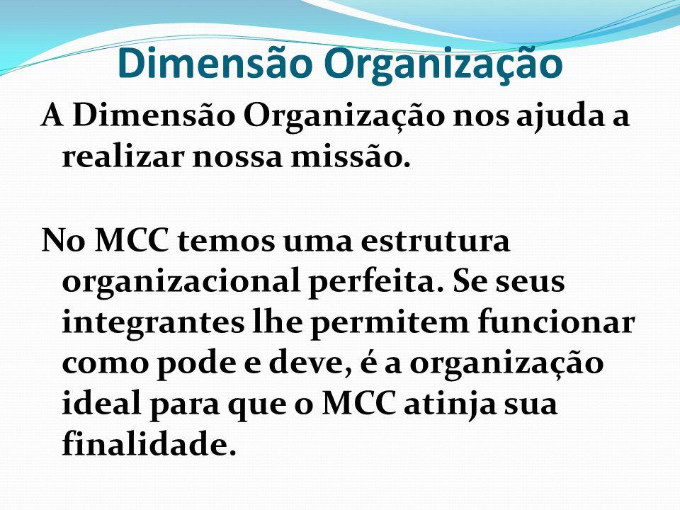 Dimensão Organização A Dimensão Organização nos ajuda a realizar nossa missão. No MCC temos uma estrutura organizacional perfeita. Se seus integrantes