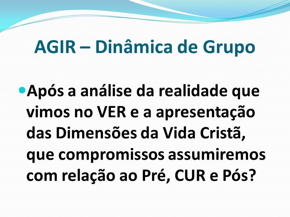 AGIR – Dinâmica de Grupo Após a análise da realidade que vimos no VER e a apresentação das Dimensões da Vida Cristã, que compromissos assumiremos com