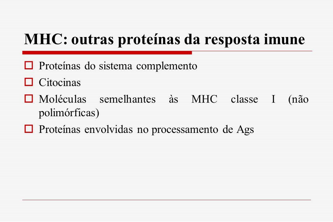 MHC: outras proteínas da resposta imune  Proteínas do sistema complemento  Citocinas  Moléculas semelhantes às MHC classe I (não polimórficas)  Pr
