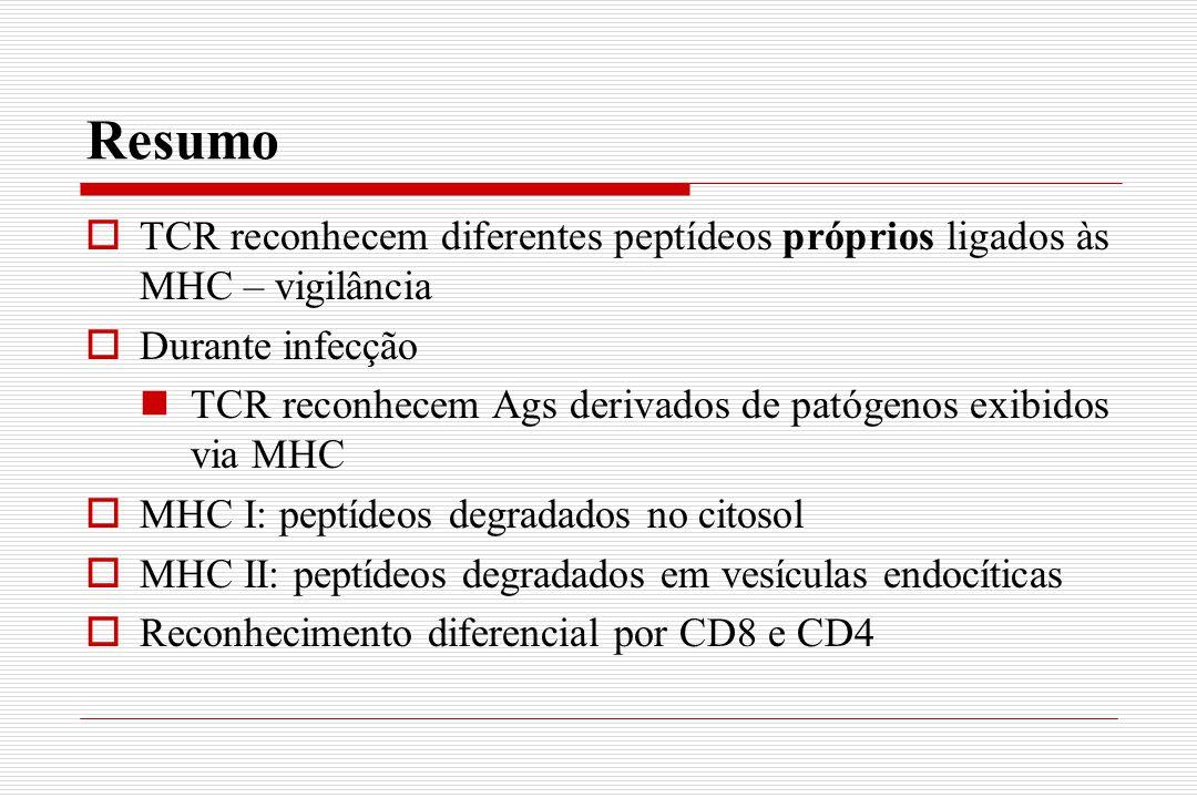 Resumo  TCR reconhecem diferentes peptídeos próprios ligados às MHC – vigilância  Durante infecção TCR reconhecem Ags derivados de patógenos exibido