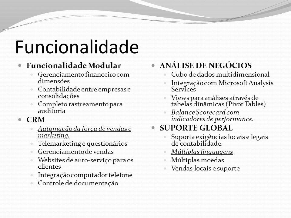 Funcionalidade Funcionalidade Modular Gerenciamento financeiro com dimensões Contabilidade entre empresas e consolidações Completo rastreamento para a