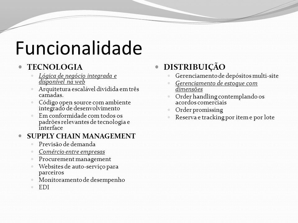 Funcionalidade TECNOLOGIA Lógica de negócio integrada e disponível na web Arquitetura escalável dividida em três camadas. Código open source com ambie