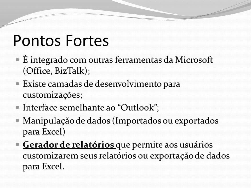 Pontos Fortes É integrado com outras ferramentas da Microsoft (Office, BizTalk); Existe camadas de desenvolvimento para customizações; Interface semel
