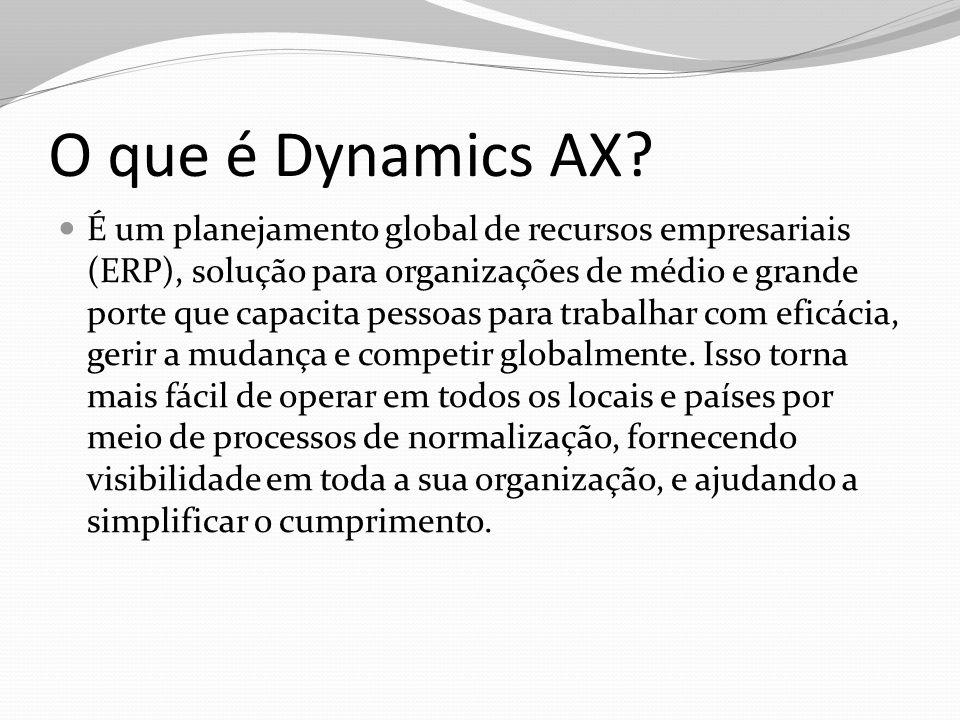 O que é Dynamics AX? É um planejamento global de recursos empresariais (ERP), solução para organizações de médio e grande porte que capacita pessoas p