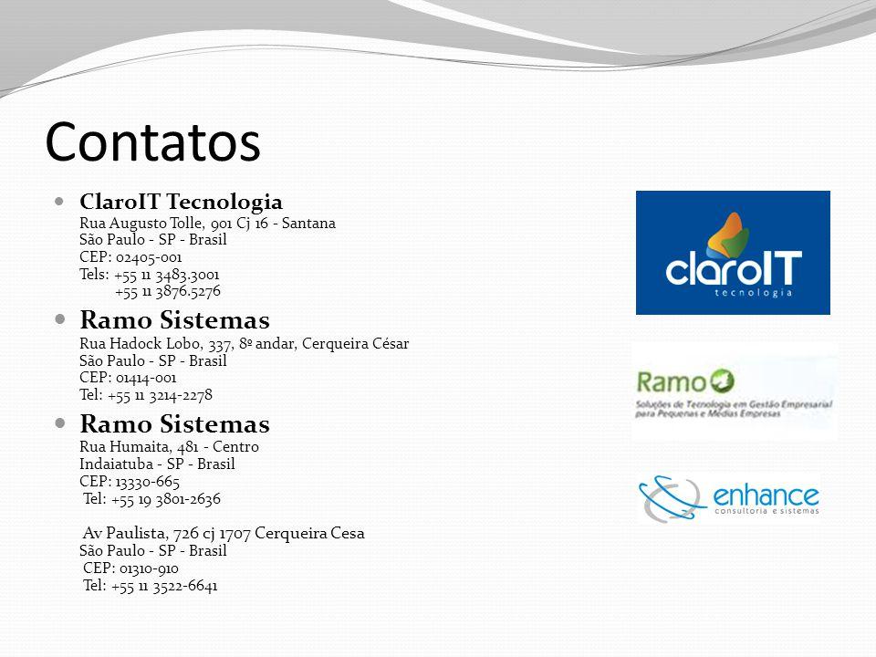 Contatos ClaroIT Tecnologia Rua Augusto Tolle, 901 Cj 16 - Santana São Paulo - SP - Brasil CEP: 02405-001 Tels: +55 11 3483.3001 +55 11 3876.5276 Ramo