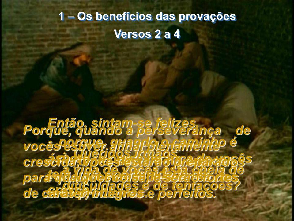 1 – Os benefícios das provações Versos 2 a 4 1 – Os benefícios das provações Versos 2 a 4 2- Queridos irmãos, a vida de vocês está cheia de dificuldades e de tentações.