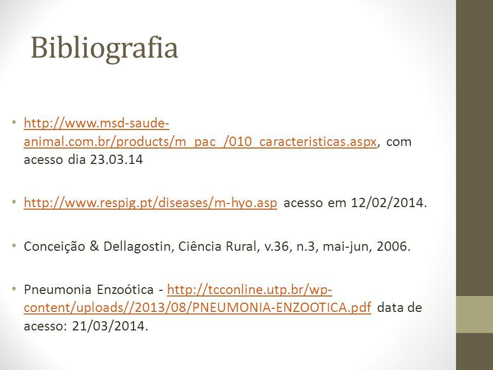 Bibliografia http://www.msd-saude- animal.com.br/products/m_pac_/010_caracteristicas.aspx, com acesso dia 23.03.14 http://www.msd-saude- animal.com.br/products/m_pac_/010_caracteristicas.aspx http://www.respig.pt/diseases/m-hyo.asp acesso em 12/02/2014.