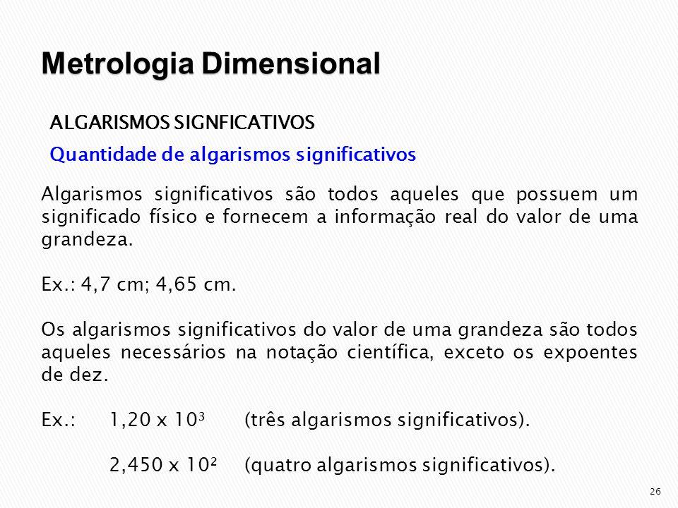 27 ALGARISMOS SIGNFICATIVOS Quantidade de algarismos significativos (cont.) Os zeros que apenas indicam a ordem de grandeza do valor medido não são considerados algarismos significativos.