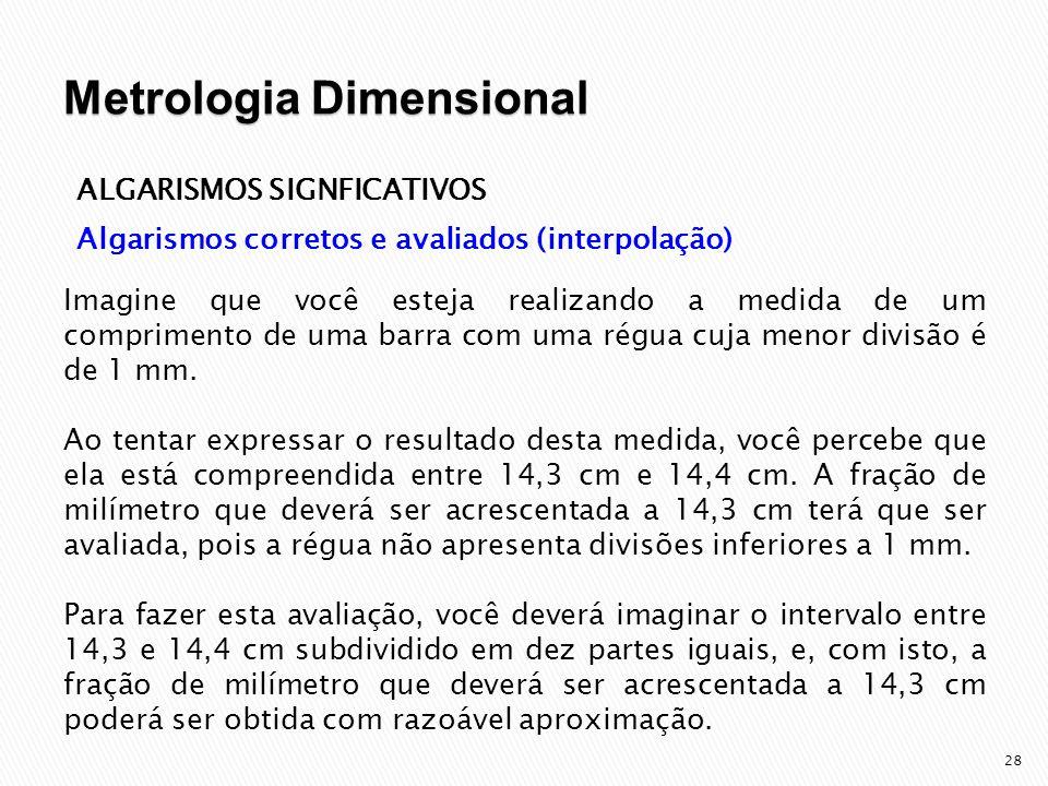 29 ALGARISMOS SIGNFICATIVOS Algarismos corretos e avaliados (interpolação) Podemos avaliar a fração mencionada como sendo cinco décimos de milímetro e o resultado da medida poderá ser expresso como 14,35 cm.