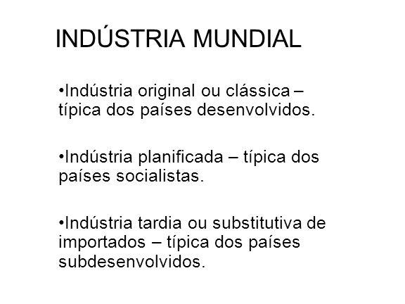 INDÚSTRIA MUNDIAL Indústria original ou clássica – típica dos países desenvolvidos. Indústria planificada – típica dos países socialistas. Indústria t