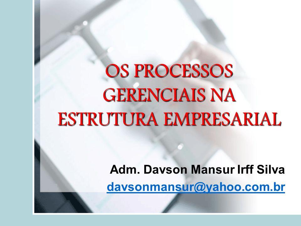 OS PROCESSOS GERENCIAIS NA ESTRUTURA EMPRESARIAL Adm. Davson Mansur Irff Silva davsonmansur@yahoo.com.bravsonmansur@yahoo.com.br
