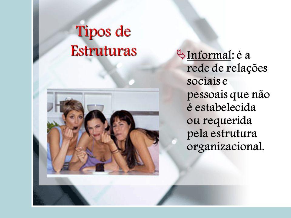Tipos de Estruturas  Informal: é a rede de relações sociais e pessoais que não é estabelecida ou requerida pela estrutura organizacional.