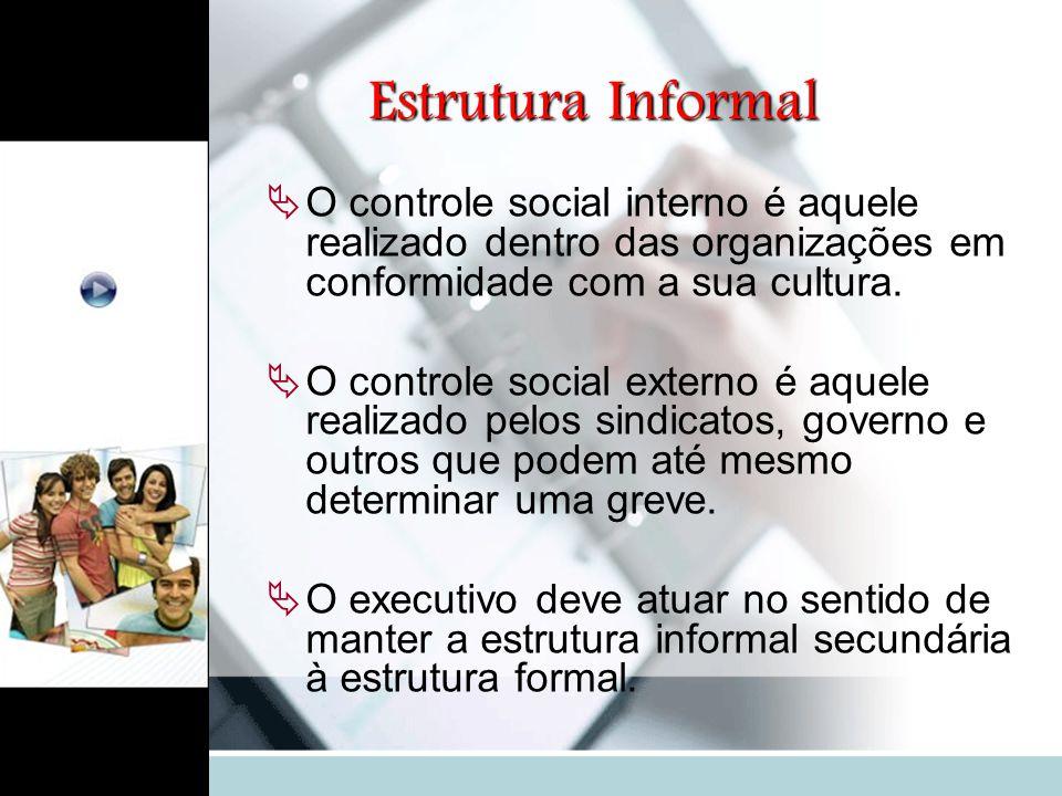 Estrutura Informal  O controle social interno é aquele realizado dentro das organizações em conformidade com a sua cultura.  O controle social exter